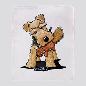 Welsh Terrier With Squirrel Throw Blanket