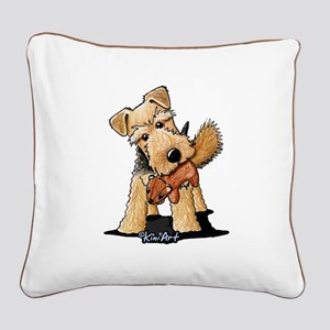 Welsh Terrier With Squirrel Square Canvas Pillow