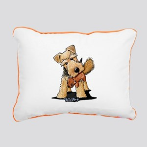 Welsh Terrier With Squirrel Rectangular Canvas Pil