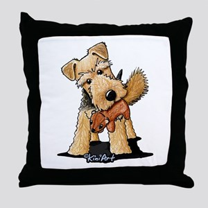 Welsh Terrier With Squirrel Throw Pillow