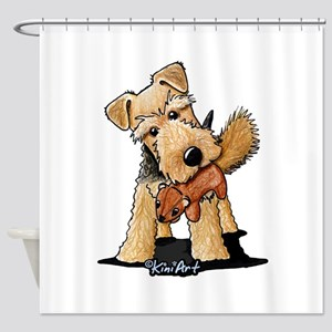 Welsh Terrier With Squirrel Shower Curtain