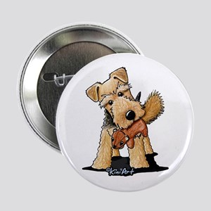 """Welsh Terrier With Squirrel 2.25"""" Button"""