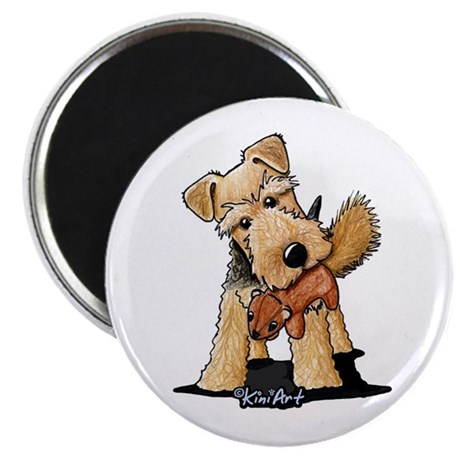 Welsh Terrier With Squirrel Magnet