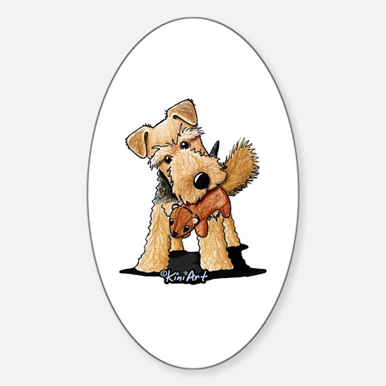 Welsh Terrier With Squirrel Sticker (Oval)