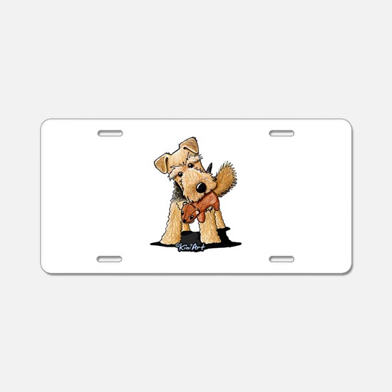 Welsh Terrier With Squirrel Aluminum License Plate