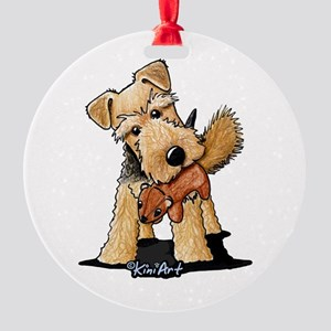 Welsh Terrier With Squirrel Round Ornament