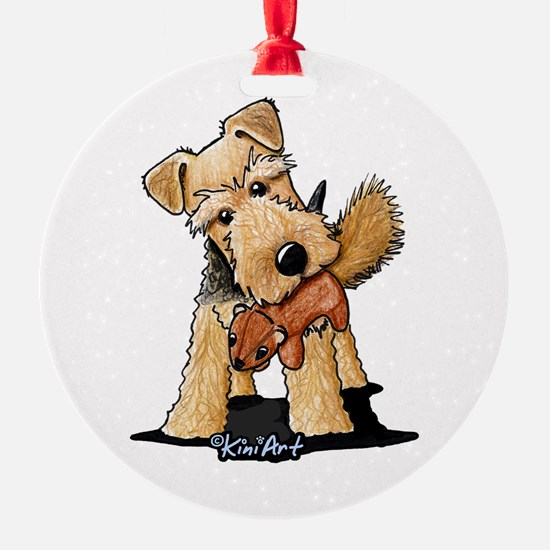 Welsh Terrier With Squirrel Ornament
