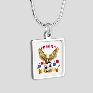 Panama Football Design Silver Square Necklace