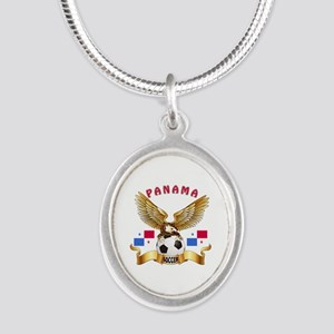 Panama Football Design Silver Oval Necklace