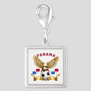 Panama Football Design Silver Square Charm