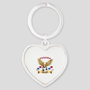Panama Football Design Heart Keychain