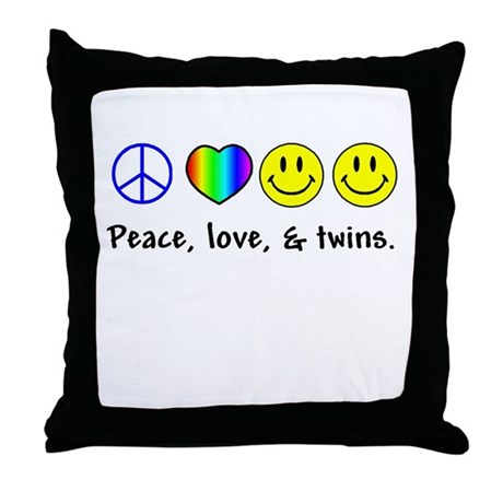 Peace, Love, & Twins Throw Pillow