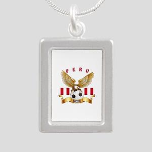 Peru Football Design Silver Portrait Necklace