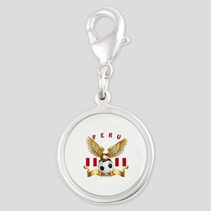 Peru Football Design Silver Round Charm