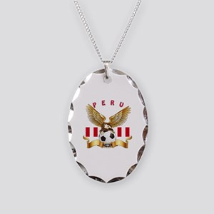Peru Football Design Necklace Oval Charm