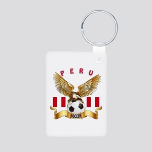 Peru Football Design Aluminum Photo Keychain