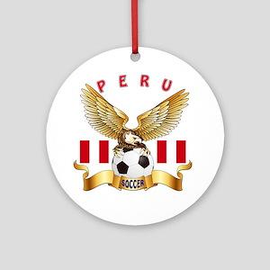 Peru Football Design Ornament (Round)