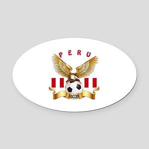 Peru Football Design Oval Car Magnet