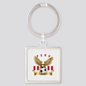 Peru Football Design Square Keychain