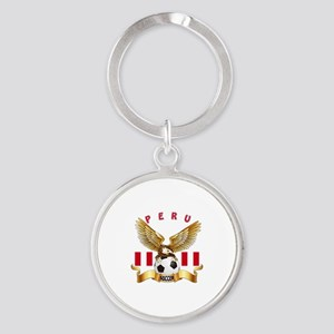 Peru Football Design Round Keychain