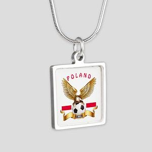 Poland Football Design Silver Square Necklace