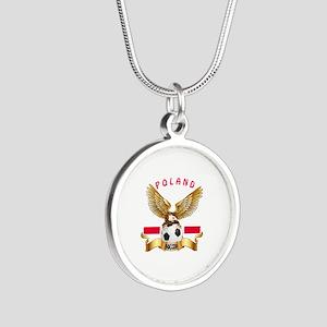 Poland Football Design Silver Round Necklace