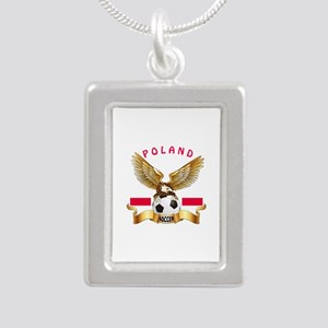 Poland Football Design Silver Portrait Necklace