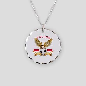 Poland Football Design Necklace Circle Charm