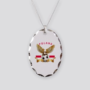 Poland Football Design Necklace Oval Charm