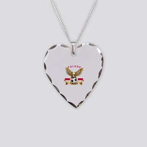 Poland Football Design Necklace Heart Charm