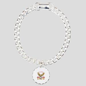 Poland Football Design Charm Bracelet, One Charm