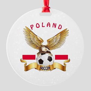 Poland Football Design Round Ornament