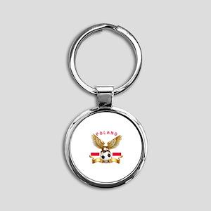 Poland Football Design Round Keychain
