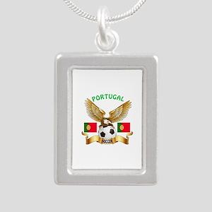 Portugal Football Design Silver Portrait Necklace