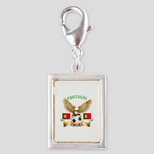 Portugal Football Design Silver Portrait Charm