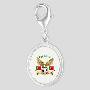 Portugal Football Design Silver Oval Charm
