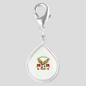 Portugal Football Design Silver Teardrop Charm