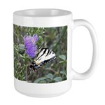 Tiger on Bull Thistle Large Mug