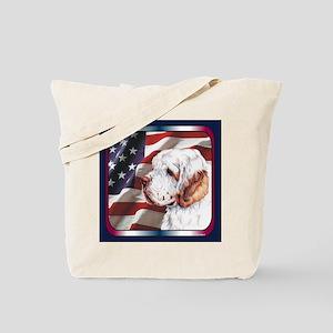 Clumber Spaniel US Flag Tote Bag