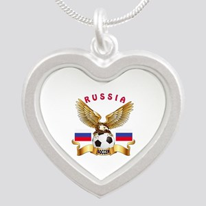 Russia Football Design Silver Heart Necklace