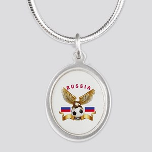 Russia Football Design Silver Oval Necklace