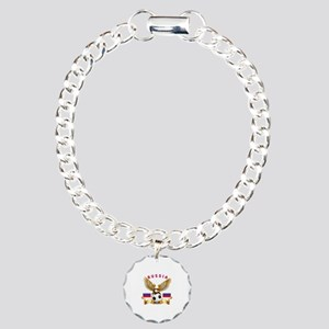 Russia Football Design Charm Bracelet, One Charm