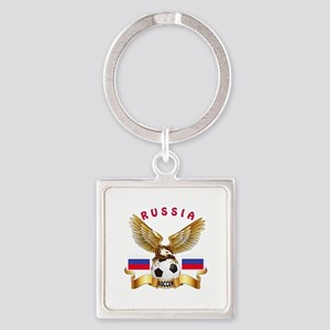 Russia Football Design Square Keychain