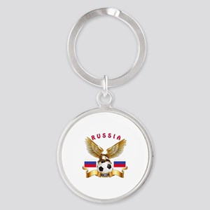 Russia Football Design Round Keychain