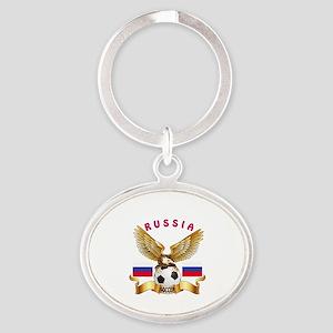 Russia Football Design Oval Keychain
