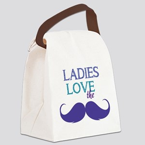 Ladies love the stache Canvas Lunch Bag