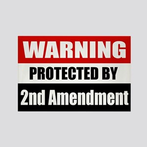 Warning Protected By The 2nd Amendment Rectangle M
