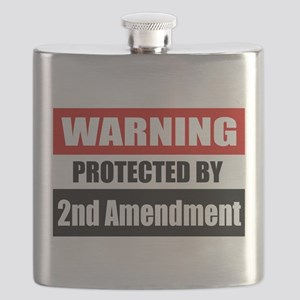 Warning Protected By The 2nd Amendment Flask