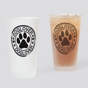 Dog lover with pawprint Drinking Glass