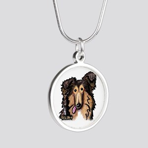 Shetland Sheepdog Silver Round Necklace